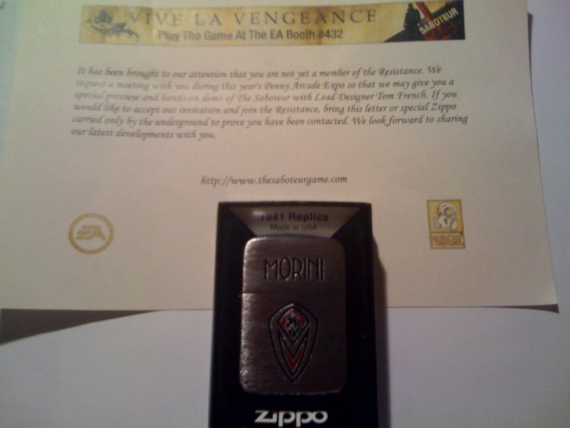 The Saboteur Zippo and letter