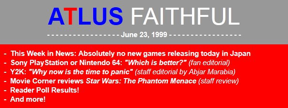 Atlus Goes Back to 1999 in Latest Newsletter - Hints at Persona 2: Innocent Sin Localization