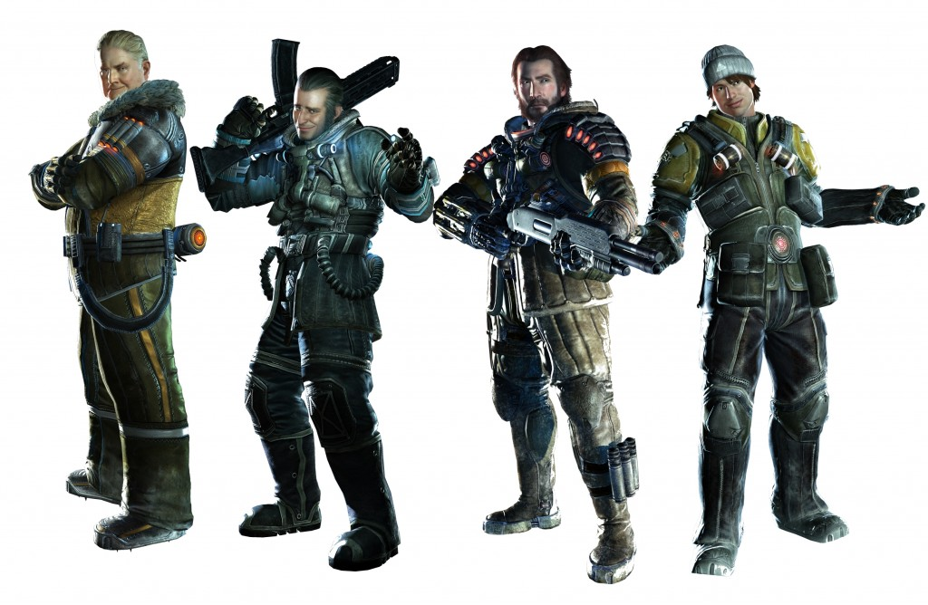 Lost Planet 3 Characters - Braddock, LaRoche, Jim, and Gale Cropped