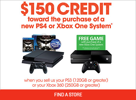 Gamestop offers the perfect chance to trade-in for a ps4/xbox one.