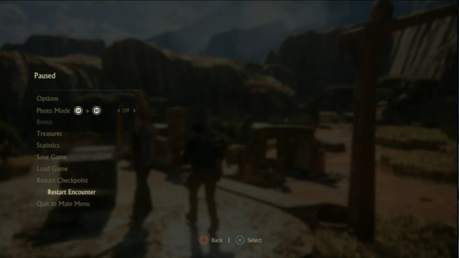Uncharted4 Pause Menu