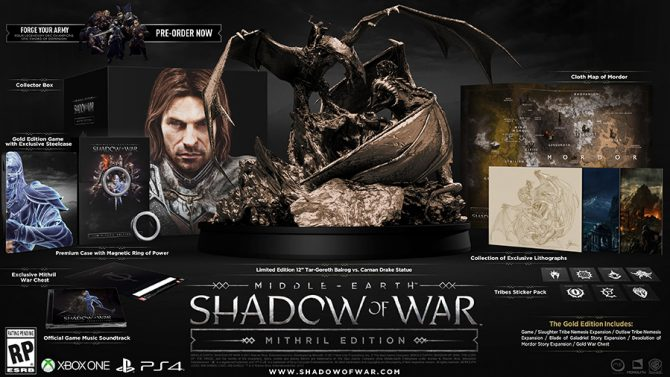 Middle-earth: Shadow of War Special Editions, Preorder Bonuses, and DLC Revealed and Detailed