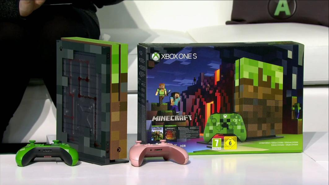 minecraft xbox one s console revealed during microsoft 39 s. Black Bedroom Furniture Sets. Home Design Ideas