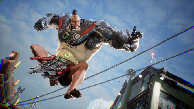 Bleeding Edge character jumping in air, PC, Xbox One