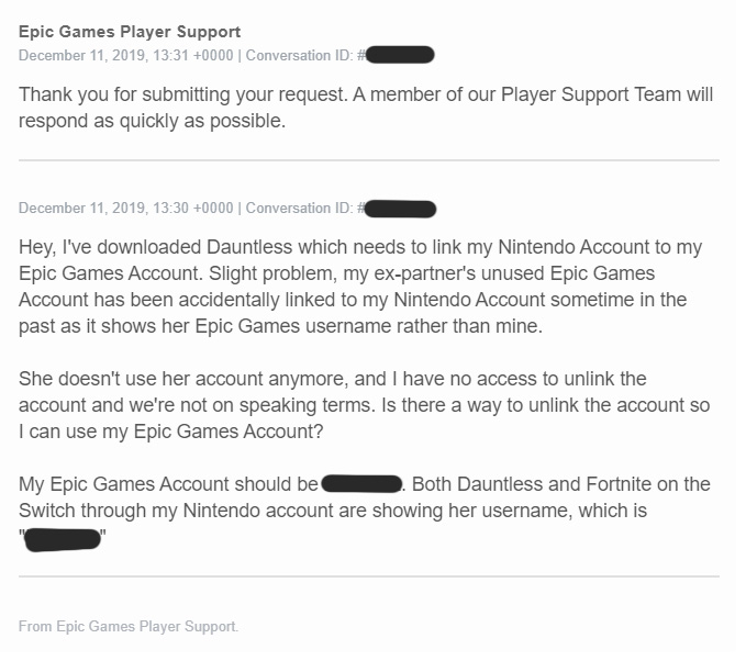 I Went To Epic Games Support To Unlink My Nintendo Switch I Left With Unwanted Therapy
