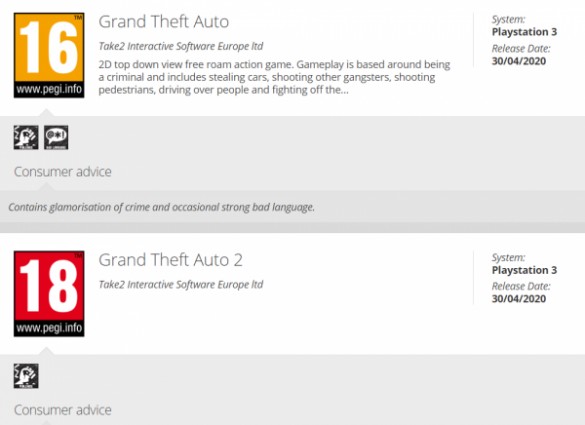GTA 1 and 2 rated for PS3