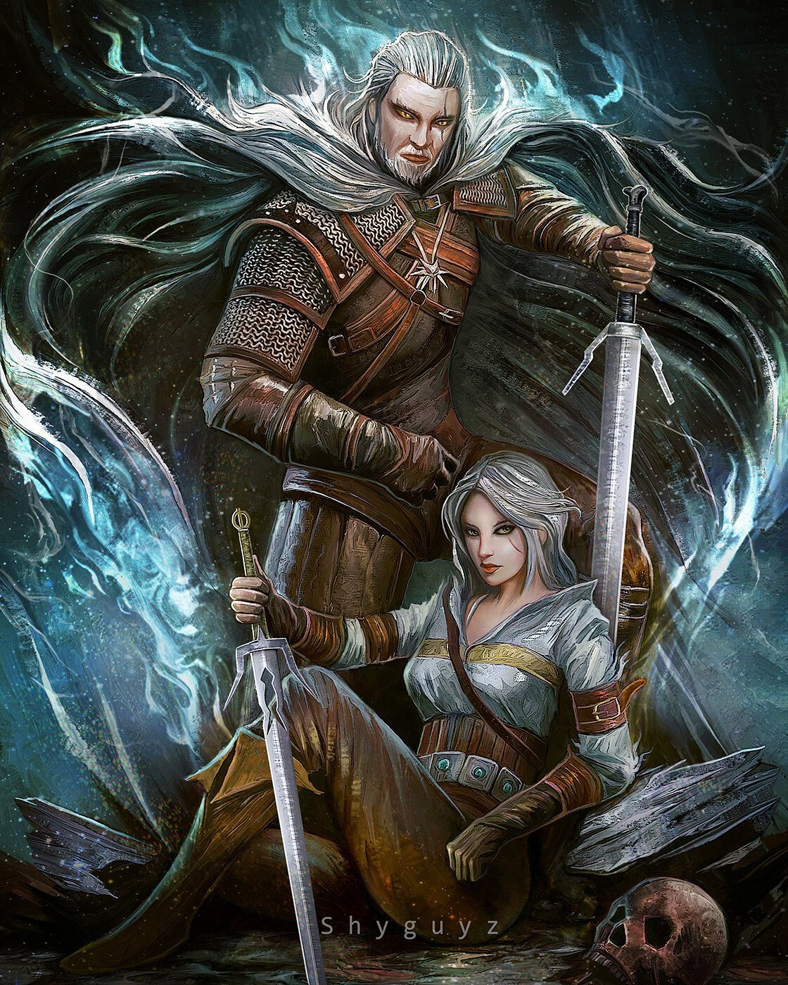 The Witcher 3 Fan Art Denotes A Beautifully Detailed Geralt And Ciri