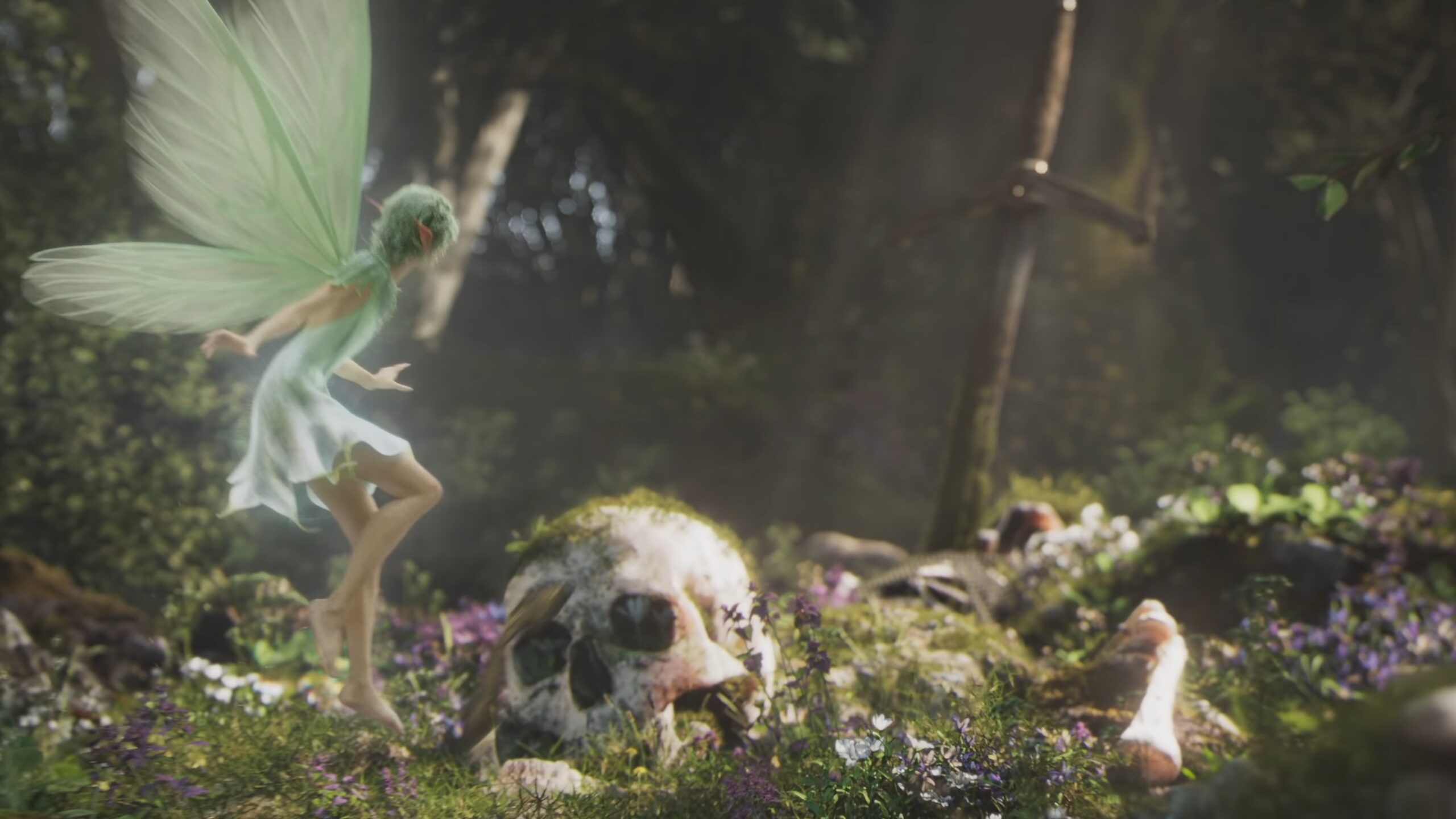 Fable Playground Games Trailer still of fairy looking at a sword