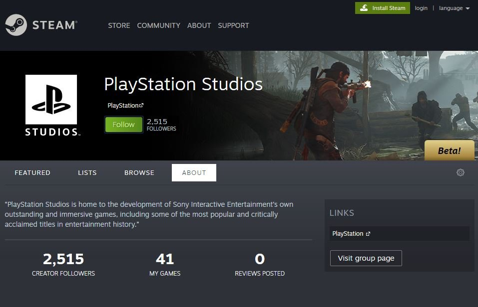 PlayStation Steam Page