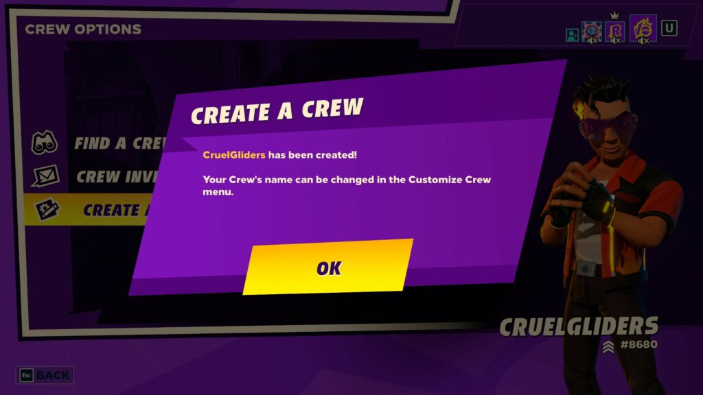 How to Create a crew in knockout city