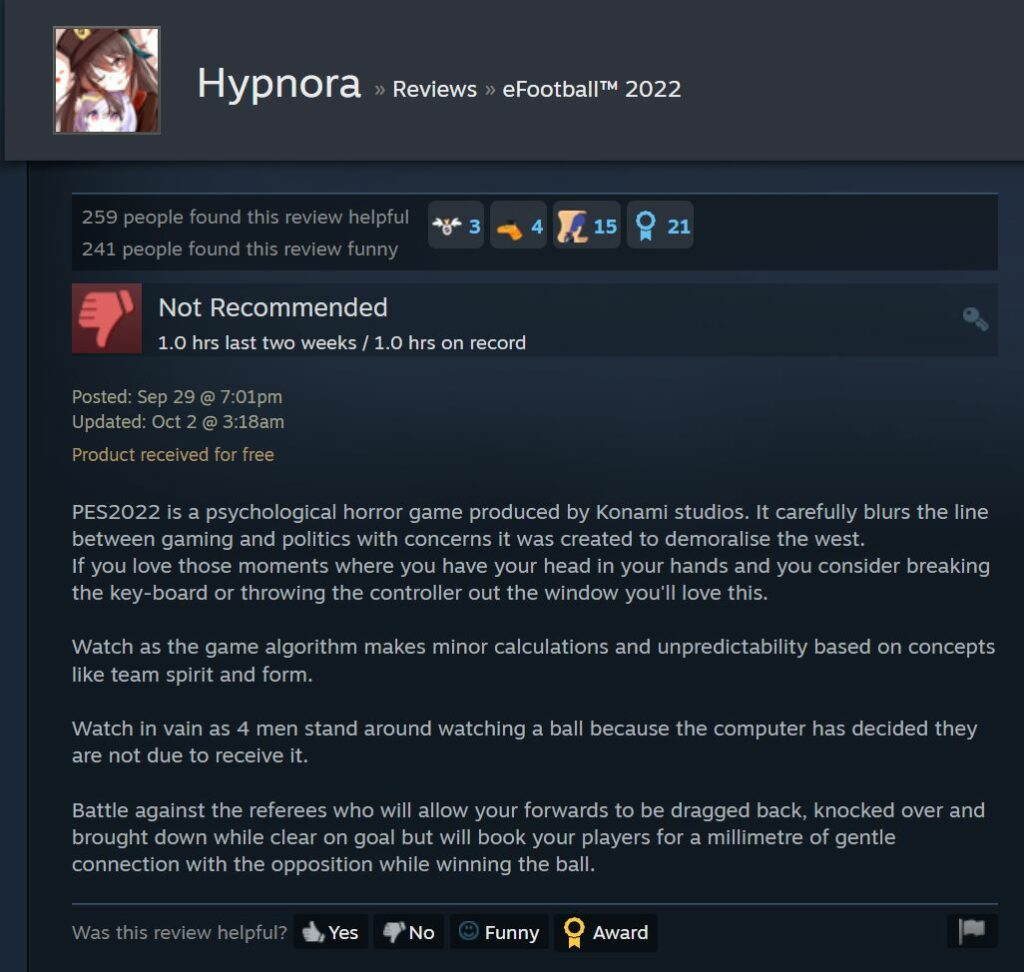 eFootball 2022 Psychological Horror review